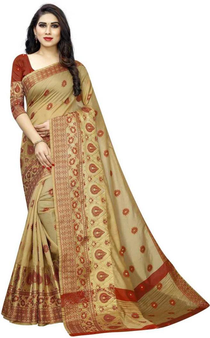 Embroidered Banarasi Art Silk, Cotton Silk Saree (Beige)