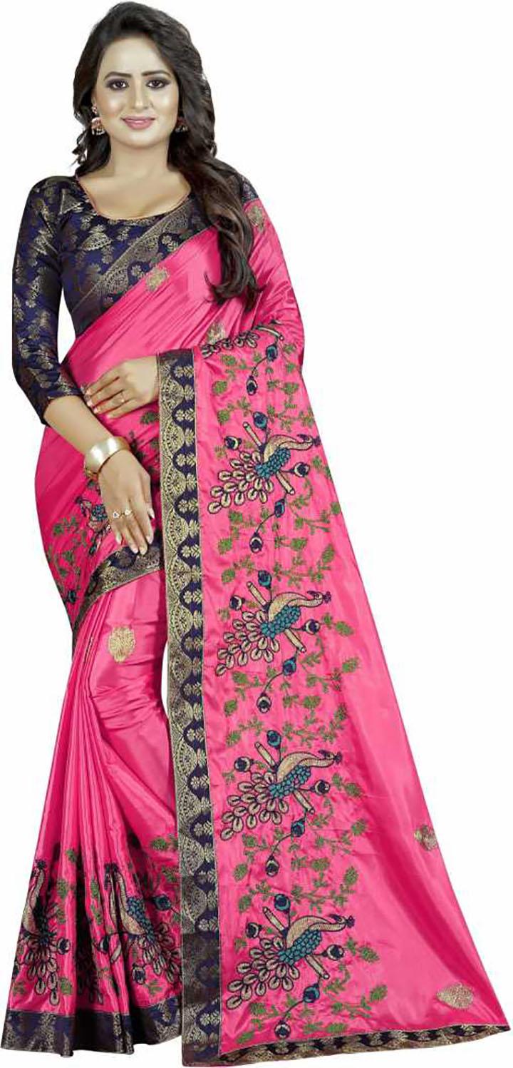 Embroidered Fashion Art Silk Saree  (Pink)