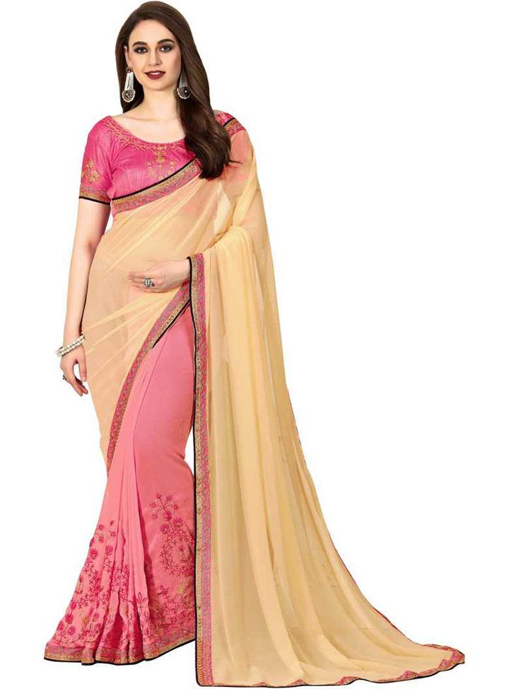 Embroidered Kanjivaram Georgette Saree (Pink, Yellow)