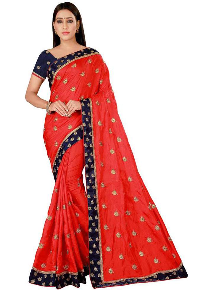Embroidered Kanjivaram Poly Silk Saree (Red)