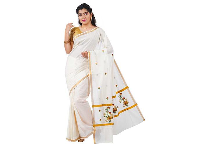 Embroidered Kasavu Cotton Blend Saree