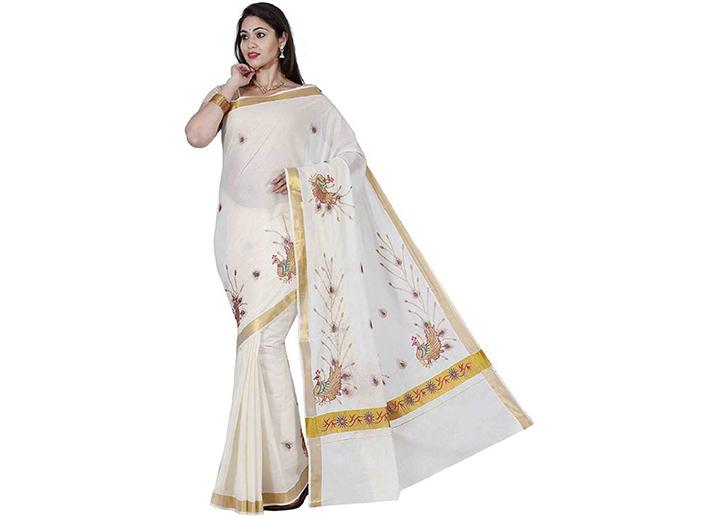 Embroidered Kasavu Cotton Blend Saree (White),