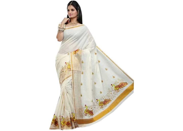 Embroidered Kasavu Cotton Blend Saree (White)