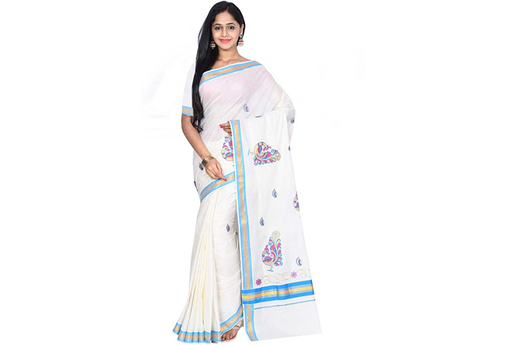 Embroidered Kasavu Handloom Cotton Blend Saree