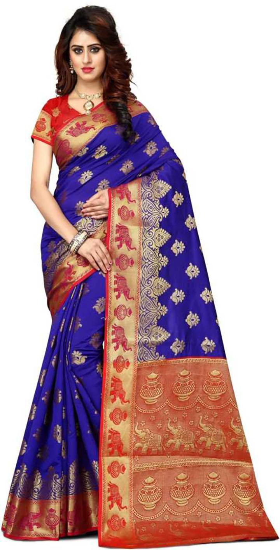 Embroidered Paithani Art Silk, Poly Silk Saree (Multicolor)