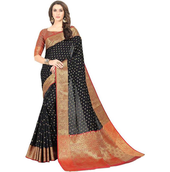 Embroidered, Woven Kanjivaram Art Silk, Cotton Silk Saree (Black)