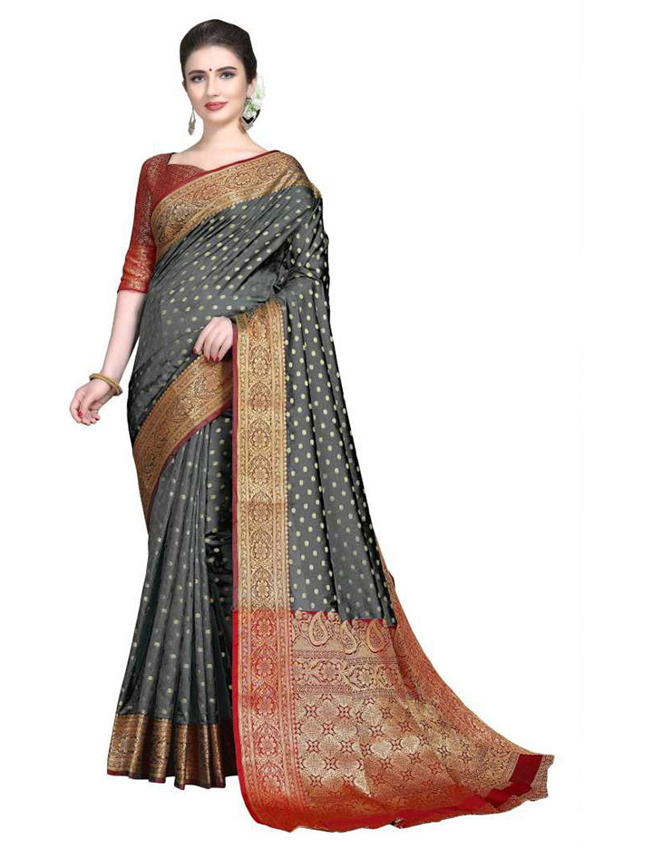 Embroidered, Woven Kanjivaram Art Silk, Cotton Silk Saree (Grey)