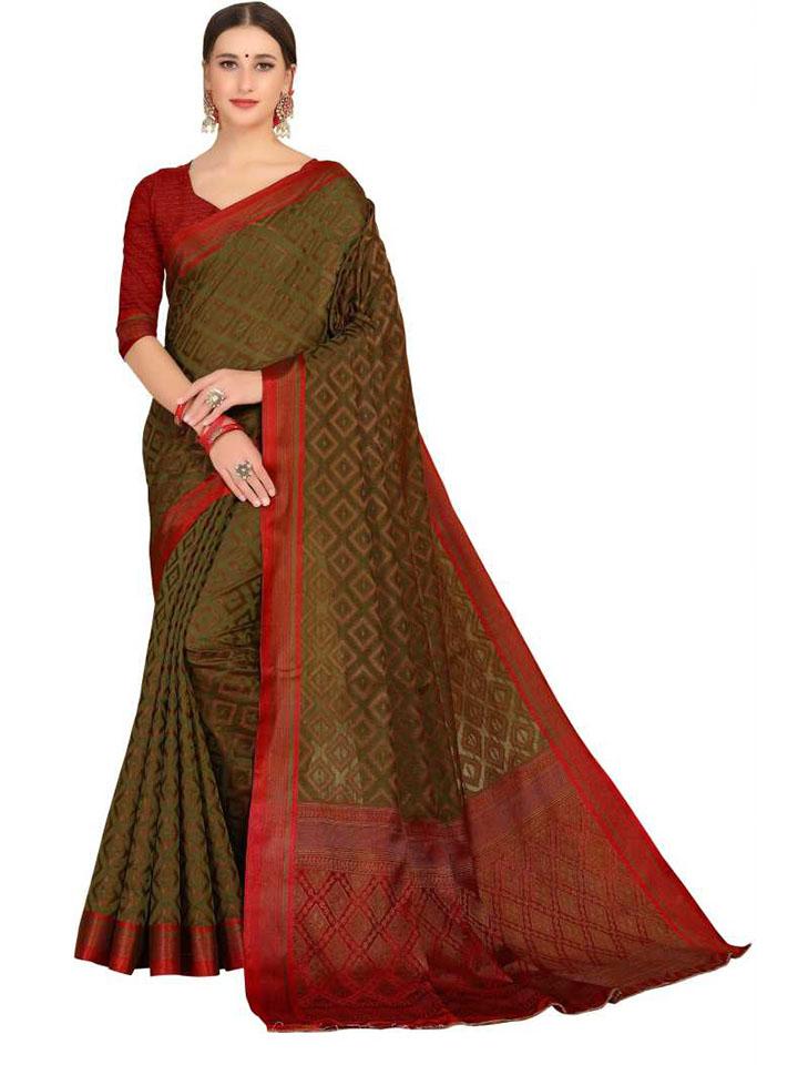 Embroidered, Woven Kanjivaram Silk Blend, Cotton Silk Saree (Multicolor)