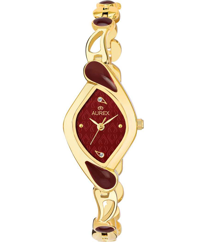 Enchanting 18 K Gold Plated Swarovski Crystal Studded Maroon Dial Maroon Enameled Oval Shaped Premium Watch