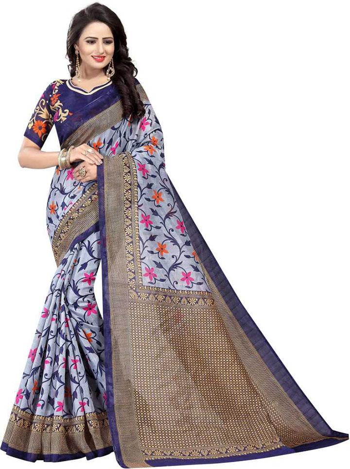 Floral Print Daily Wear Art Silk Saree (Grey)