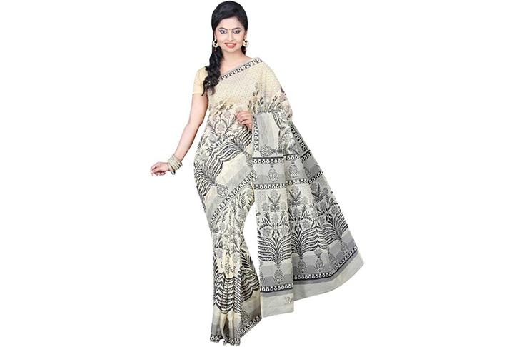 Floral Print Gadwal Cotton Blend Saree (Beige)