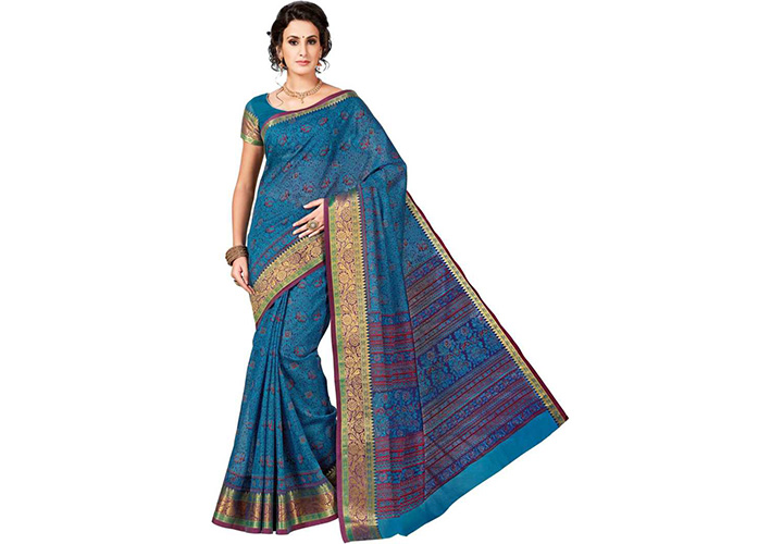 Floral Print Gadwal Cotton Blend Saree (Blue)