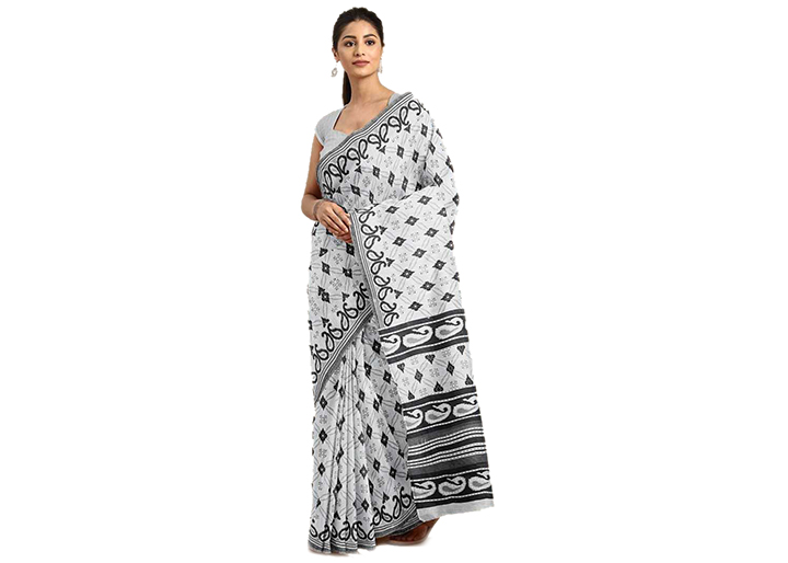 Floral Print Gadwal Cotton Blend Saree (White, Grey)