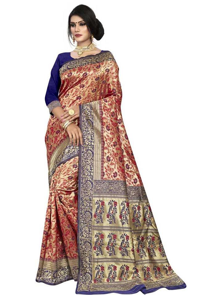 Floral Print Kanjivaram Pure Silk, Khadi Silk Saree (Dark Blue, Red)