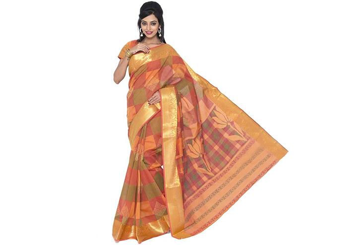 Geometric Print Gadwal Cotton Blend Saree (Orange)
