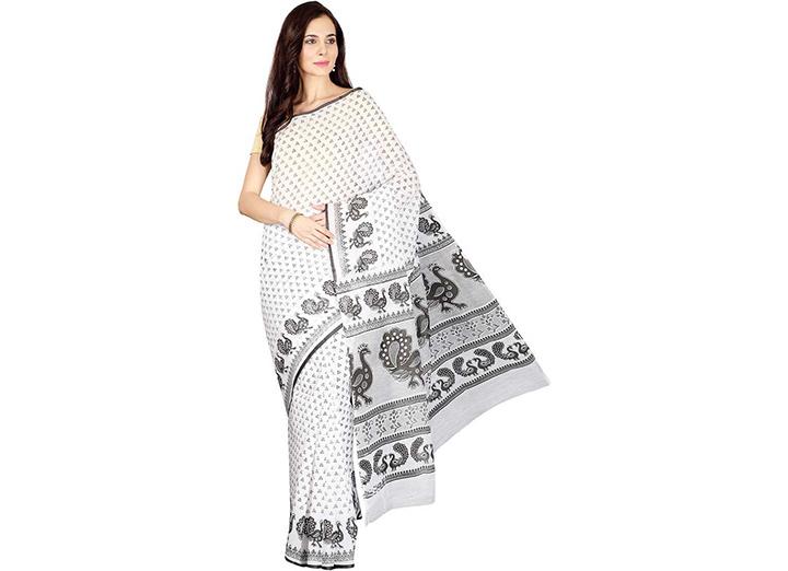 Graphic Print Gadwal Cotton Blend Saree (White)