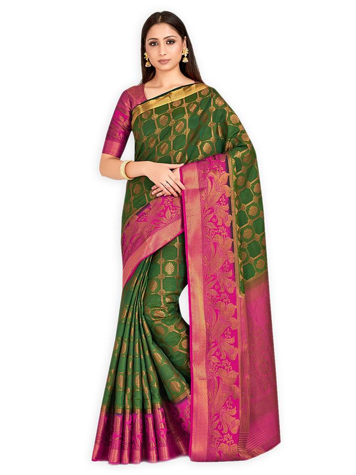 Green Art Silk Woven Design Kanjeevaram Saree
