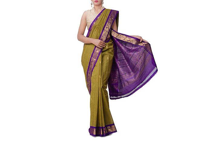 Green Pure Handloom Gadwal Cotton Saree
