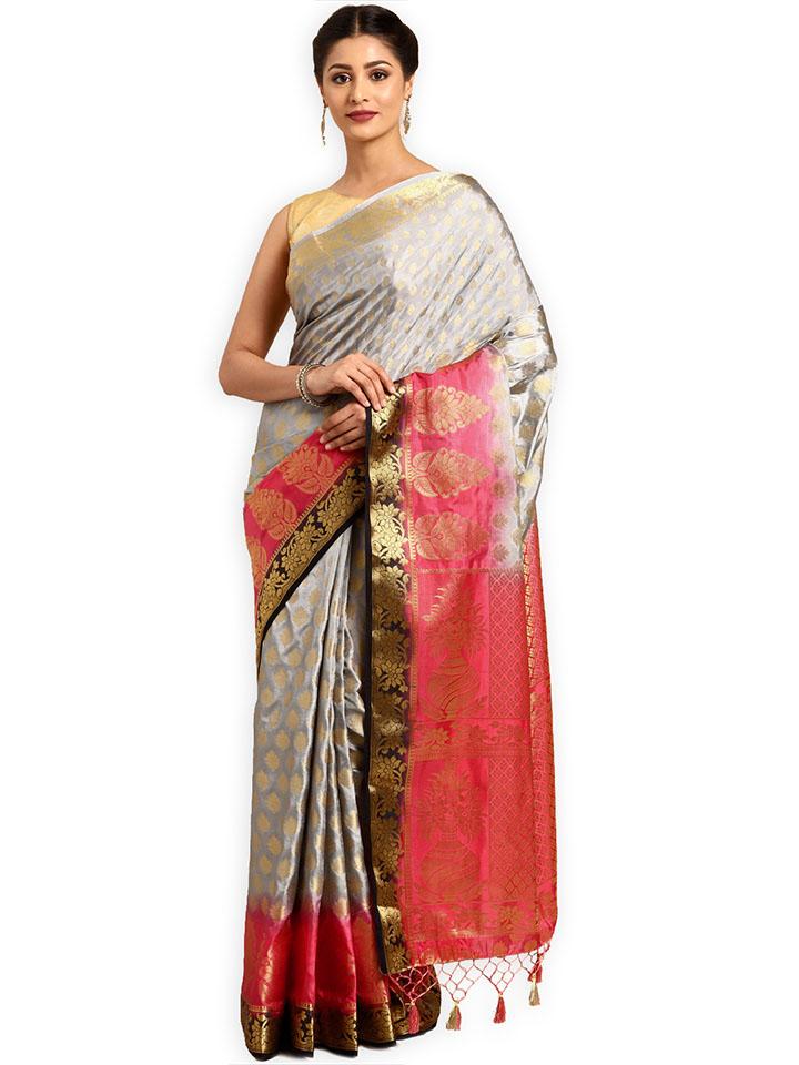 Grey Art Silk Woven Design Kanjeevaram Saree