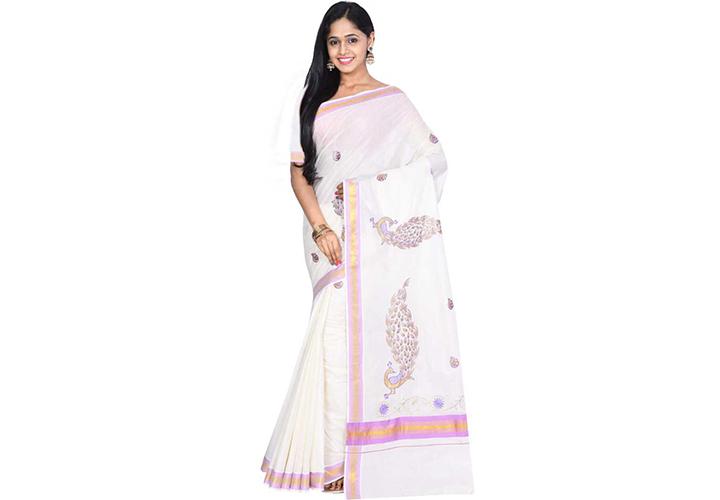 Hand Painted Kasavu Handloom Cotton Blend Saree