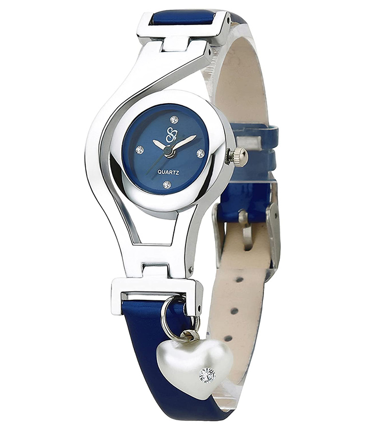 Heart Pearl Dangle Silver Case Navy Blue Color Leather Strap Analogue Wrist Watch for Girls