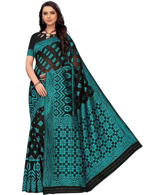Ikkat Cotton Blend, Cotton Silk Saree Green, Black