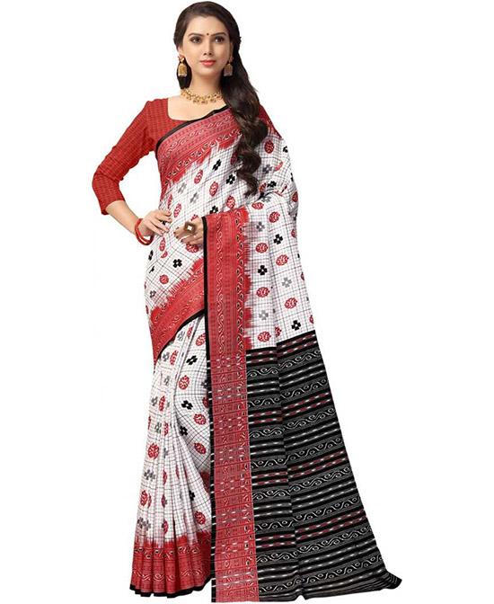 Ikkat Cotton Blend, Polycotton Saree Red, White, Black, Grey