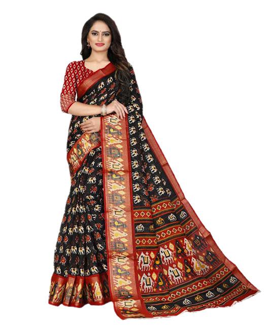 Ikkat Cotton Blend Saree (Black)