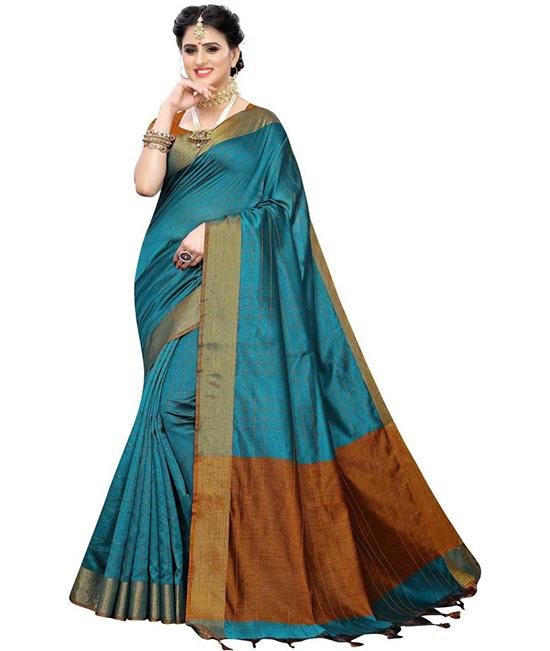 Ikkat Cotton Blend Saree Multicolor