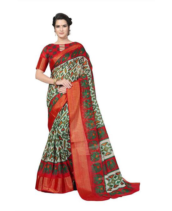 Ikkat Cotton Blend Saree (Multicolor)