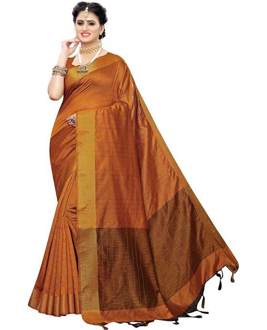 Ikkat Cotton Blend Saree Orange