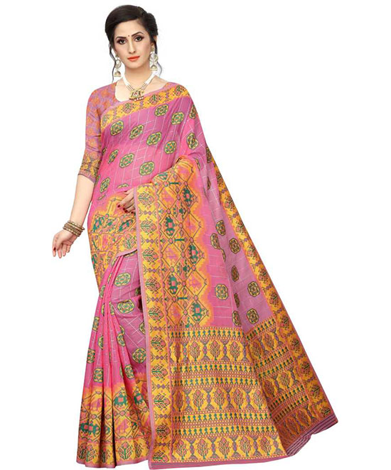 Ikkat Cotton Blend Saree Pink