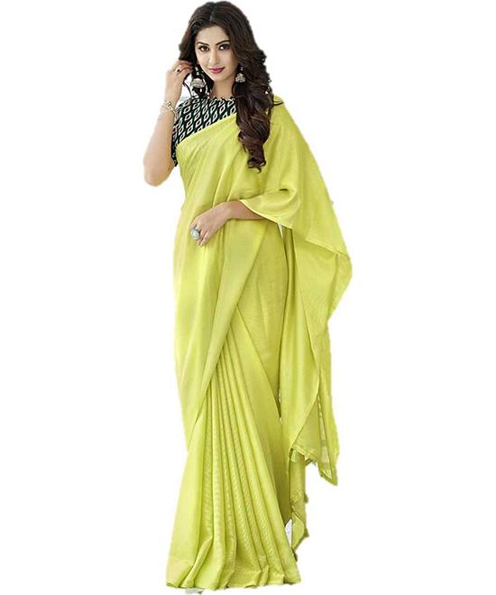 Ikkat Cotton Jute Blend, Chiffon Saree Yellow