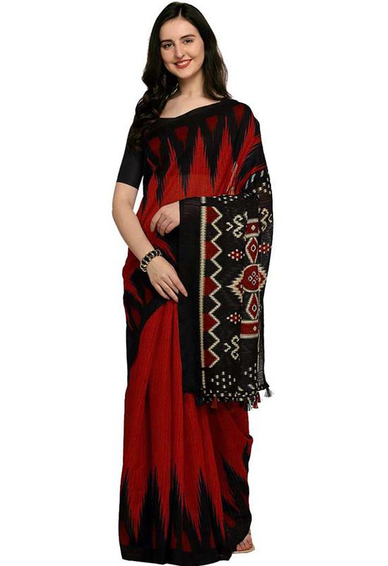 Ikkat Cotton Linen Blend Saree Red