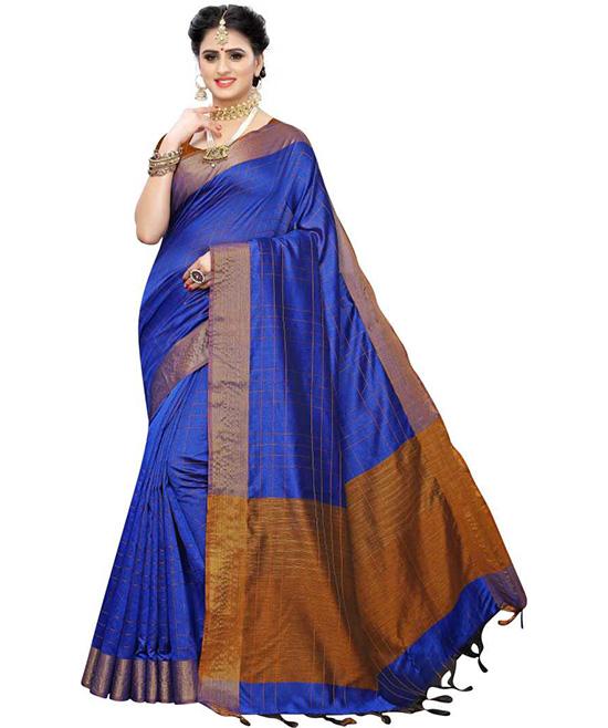 Ikkat Multicolor Cotton Blend Saree