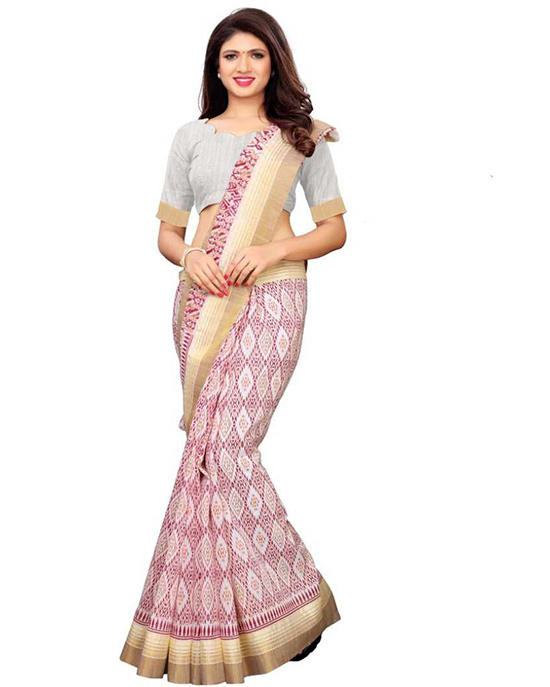 Ikkat Polycotton Saree Multicolor, Red, White