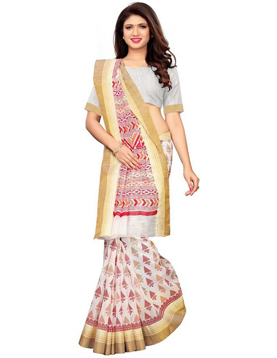 Ikkat Polycotton Saree ,Red, White Multicolor
