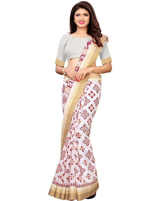 Ikkat Polycotton Saree Red, White Multicolor