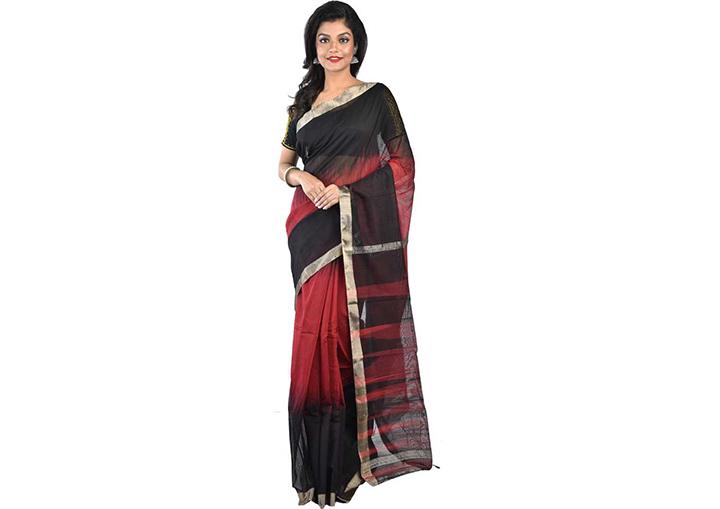 Ombre, Woven Gadwal Handloom Cotton Blend, Poly Silk Saree (Black)