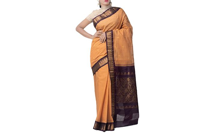 Orange Pure Handloom Gadwal Cotton Saree