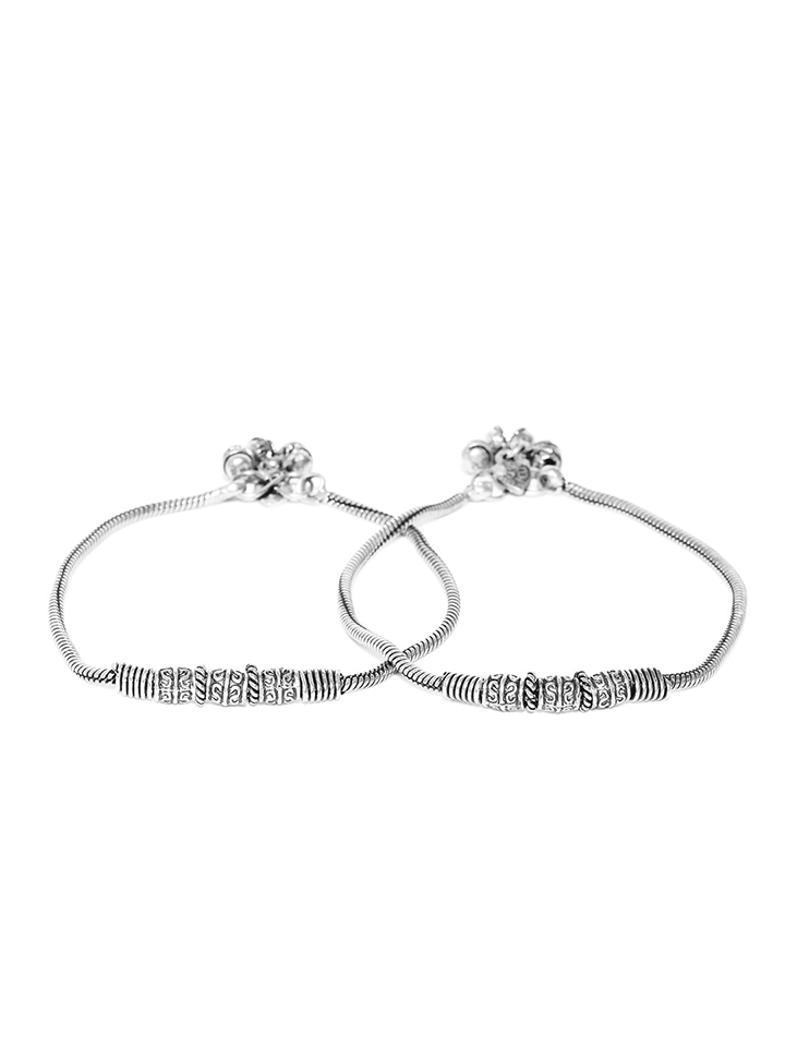 Set of 2 Oxidised Silver-Plated German Silver Multistranded Anklets