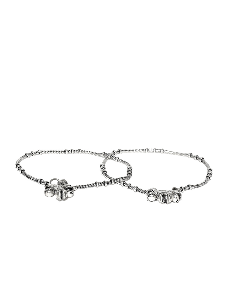 Oxidised Silver-Toned Anklets