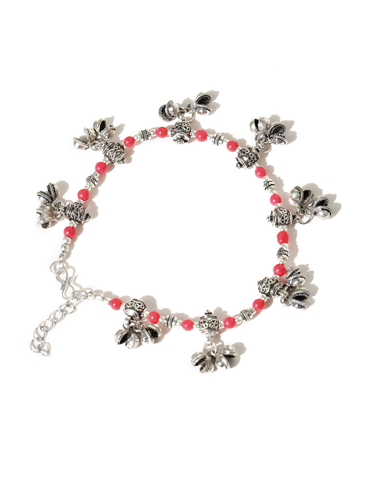 Oxidised Silver-Toned & Pink Beaded Anklets