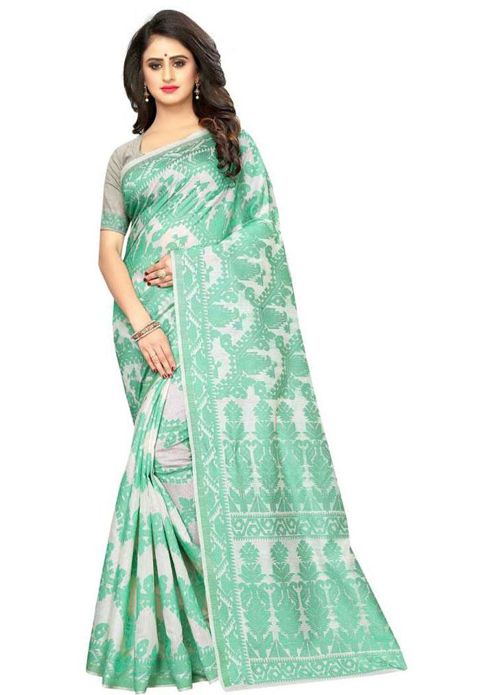 Paisley, Woven Kanjivaram Cotton Jute Blend, Chiffon Saree (Green)