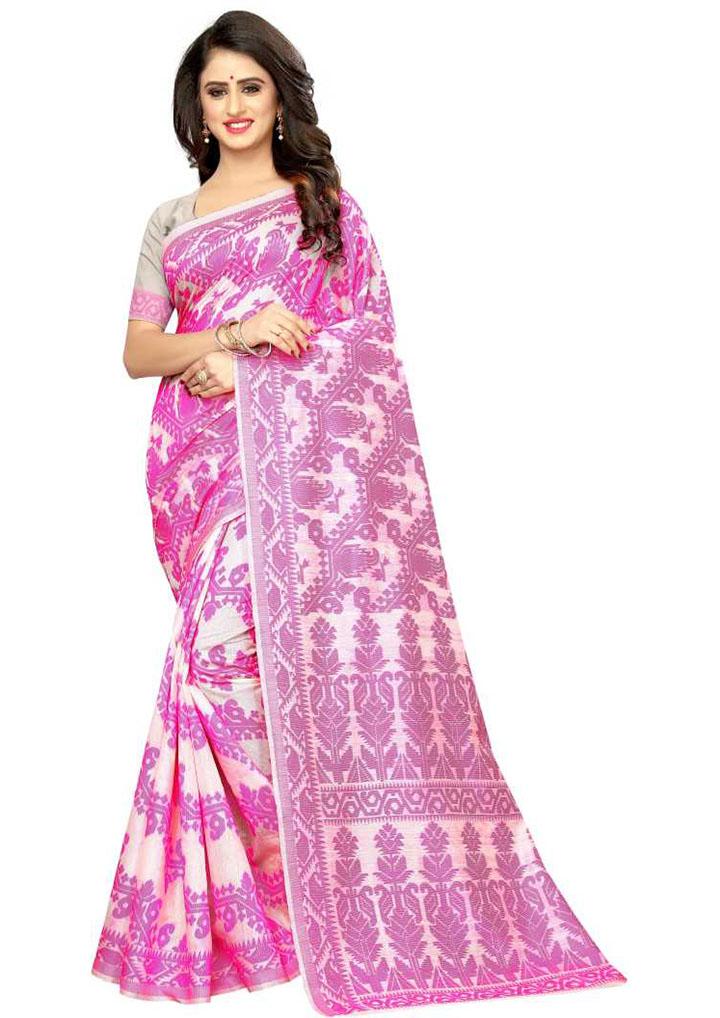 Paisley, Woven Kanjivaram Cotton Jute Blend, Chiffon Saree (Pink)