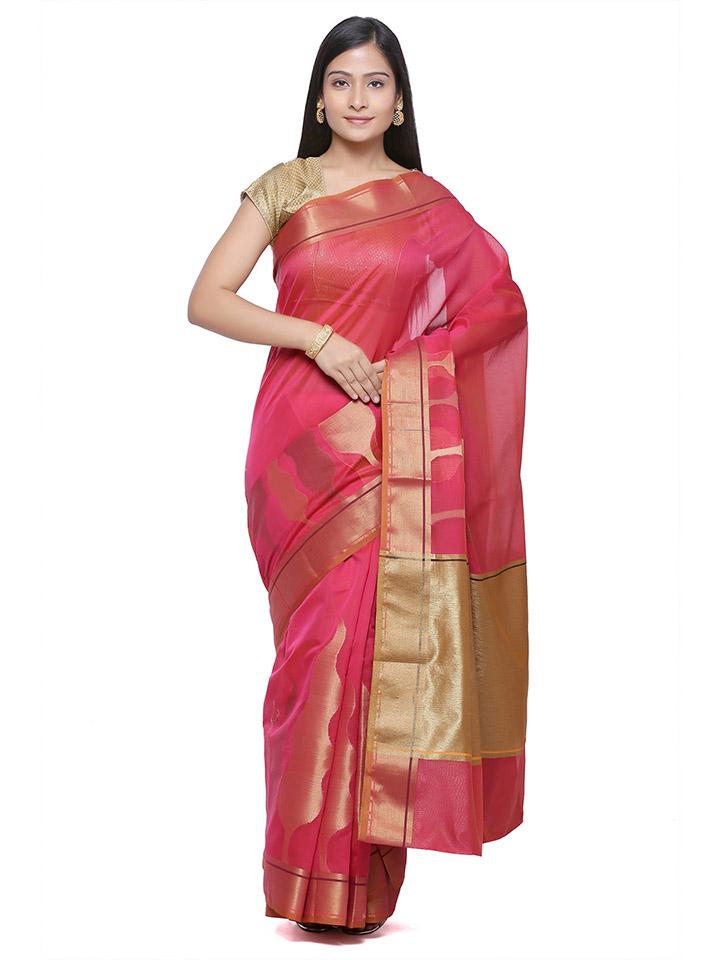 Pink & Gold-Toned Art Silk Woven Design Banarasi Saree