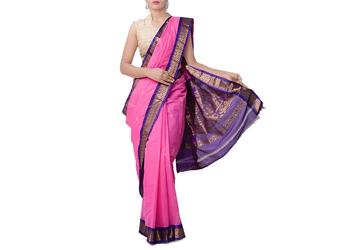 Pink Pure Handloom Gadwal Cotton Saree