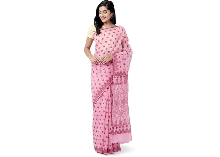 Polka Print Gadwal Cotton Blend Saree (Pink)