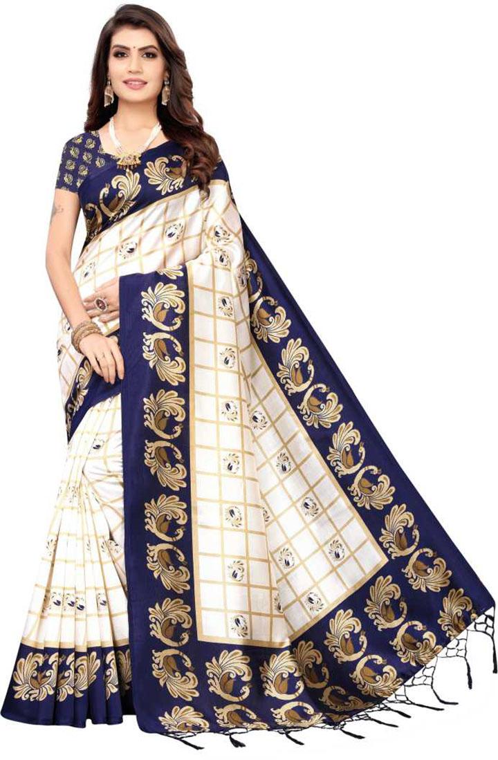 Printed, Animal Print Daily Wear Art Silk Saree (Dark Blue)