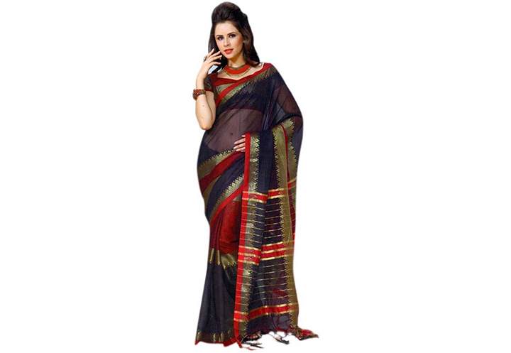 Printed Chettinadu Cotton Blend Saree (Dark Blue)